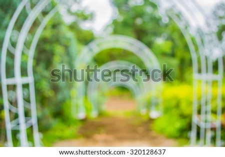 blur image of  stairway with open space to the green garden for background usage - stock photo