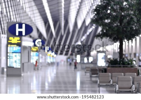 Blur interior of the airport background - stock photo