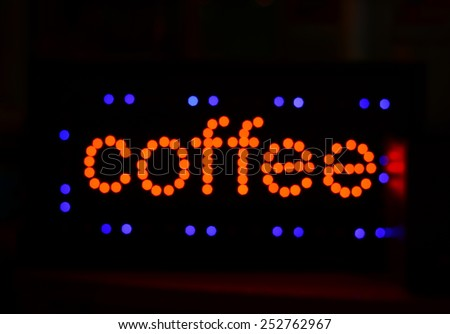 blur light coffee letters at night - stock photo