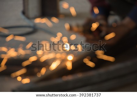 Blur man welding steel - stock photo