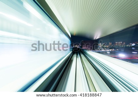 Blur motion of tunnel  - stock photo