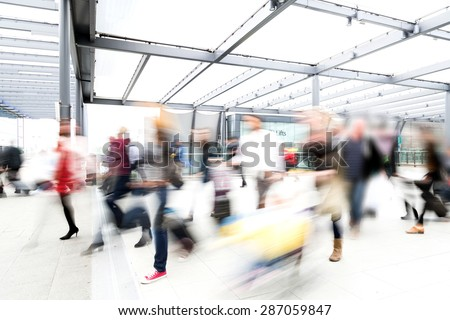 blur moving crowd of people at the airport - stock photo