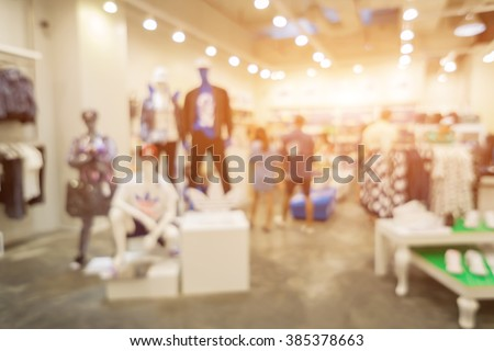 Blur of city shopping people crowd at marketplace shoe shop abstract background.vintage color - stock photo