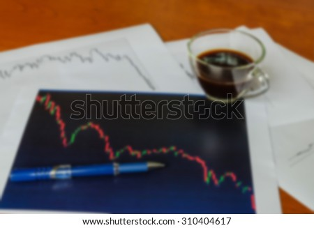 blur of graph analysis work concept - stock photo