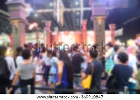 Blur or Defocus image of Airport crowds - stock photo