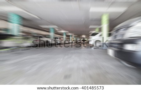 Blur Parking garage interior, industrial building. - stock photo