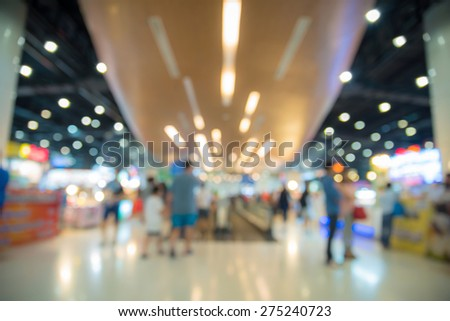 Blur people in the shopping mall background with bokeh  - stock photo