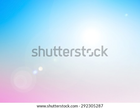Blur Pink Garden Blue Sky White Terrace View Sun Sand Sea Surf Rest Fresh Nature Ray Glow Bokeh Flare Travel Zen Shine Soft Cloud Bright Wave Blurry Sunny Horizon Vintage Amazing Texture Sale concept. - stock photo