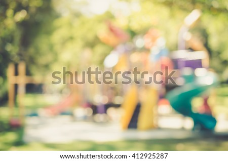 Blur playground in park abstract background. Film tone effect. - stock photo