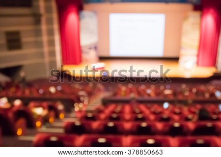 blur row of red auditorium  or theater seat and stage - stock photo