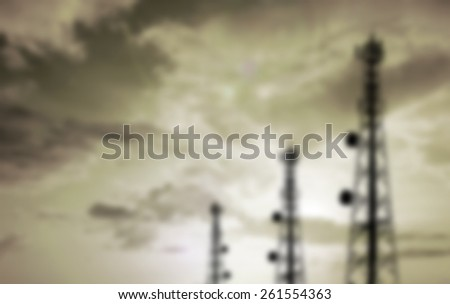 blur silhouette phone antenna - stock photo