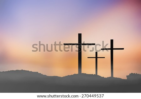 blur silhouette the cross on blurred nature background. - stock photo