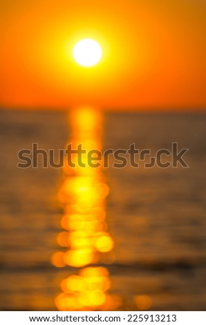 Blur solar path on the sea during sunset. abstract composition - stock photo