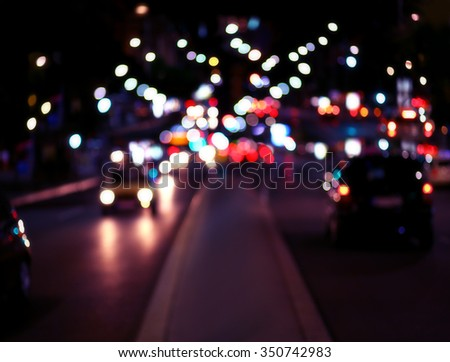 Blur traffic and car lights bokeh background - stock photo