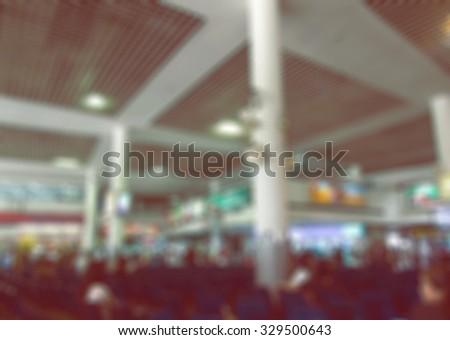 blur transport station & people - stock photo