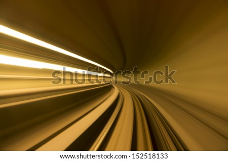 blur tunnel in orange tone - stock photo