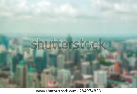 Blur view of  Bangkok city skyline for background - stock photo