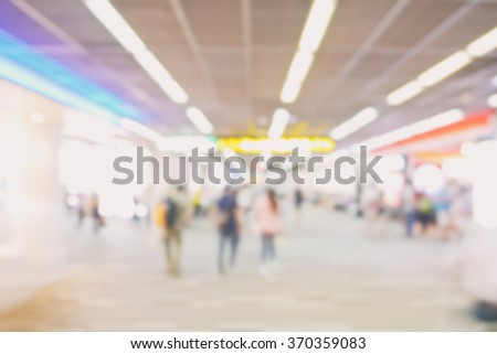 Blur walk way to boarding gate at airport - stock photo