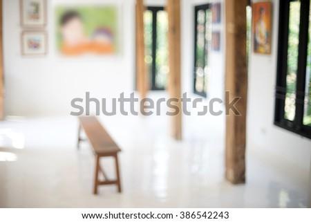 blur white room art gallery exhibition display - stock photo