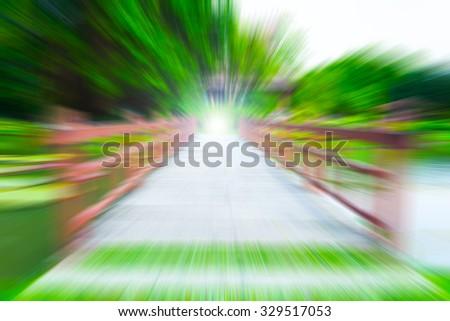 """blur wood bridge & destination light """" The path to success """" business concept - stock photo"""