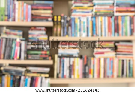blure of Books on a shelf background - stock photo