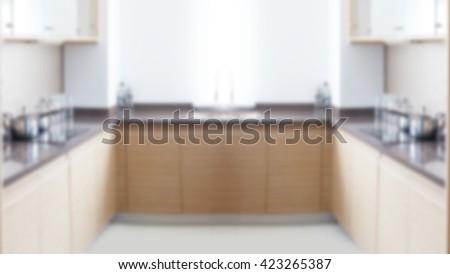 Blured kitchen room background. - stock photo