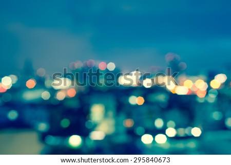 blured lights cityscape bankok thailand - stock photo