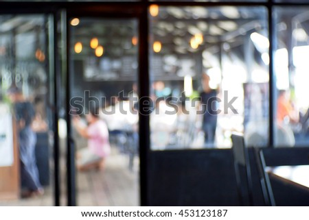 Blurred abstract background of The atmosphere in the cafe - stock photo