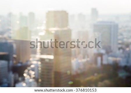 Blurred aerial view of Bangkok skyline on amazing beauty golden warm light sunrise. Beautiful hotel, resident of Bangkok city, Thailand, Asia. Insurance, Investment, industry concept. - stock photo