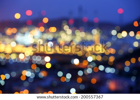 Blurred and Bokeh for oil refinery at night sky, Thailand - stock photo