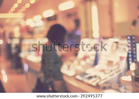 blurred background - blur shopping mall and customer - stock photo