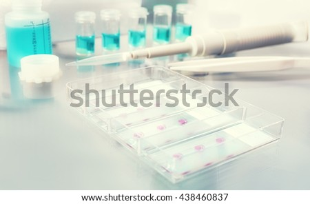 Blurred background for histopathology-related design. Tissue sections, battery of jars with fixed tissue samples on glass. Toned image, text space. There is no focal point here, all image is blurred.  - stock photo