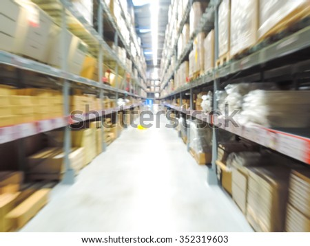 Blurred Background Image of Shelf in Warehouse or Storehouse - stock photo