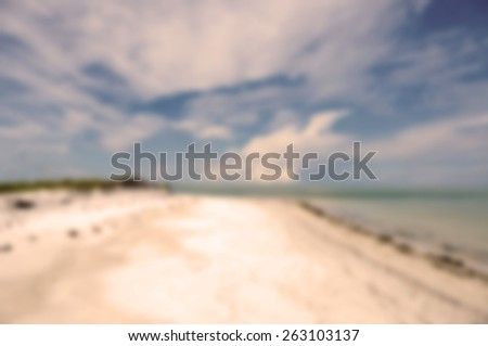 Blurred Background Image of the Beautiful Coastline on Anna Maria Island, Florida - stock photo
