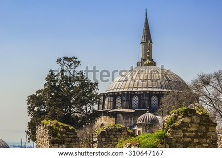 blurred background mosque and the ruins of the church in the old city of Istanbul - stock photo