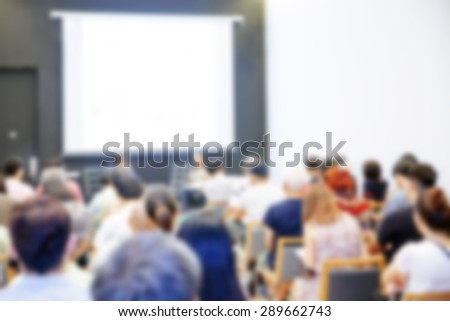Blurred background of Business conference and presentation. audience at the conference room - stock photo