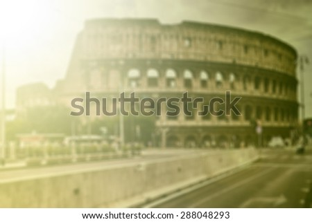 Blurred background of Colloseum, toned - stock photo