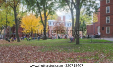 Blurred background of Harvard Yard on a beautiful Fall day in Cambridge, MA, USA. - stock photo