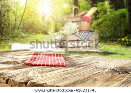 blurred background of landscape and empty table and summer  time  - stock photo