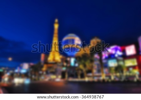 Blurred background of Las Vegas Strip, Nevada, USA - stock photo