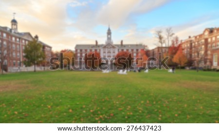 Blurred background of undergrad a traditional college campus on the eastern seaboard of the USA. - stock photo