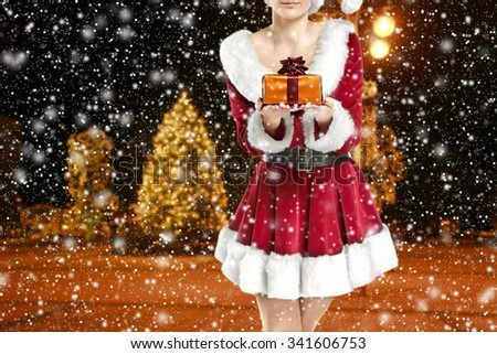 blurred background of winter night and box  - stock photo