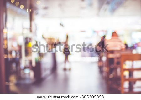 Blurred background : People in Coffee shop blur background with bokeh light with vintage filter. - stock photo