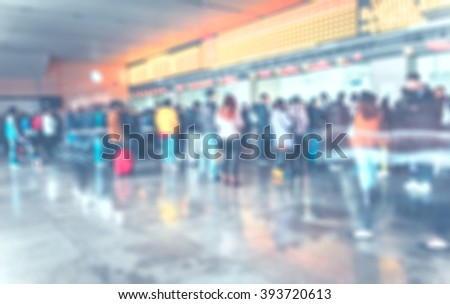 Blurred background ,people queuing to buy a public transport auto ticket,Transportation concept,pale vintage filter - stock photo