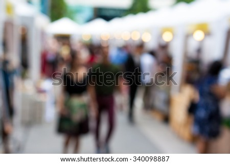 Blurred background : people shopping at market in holiday, blur background with bokeh. - stock photo
