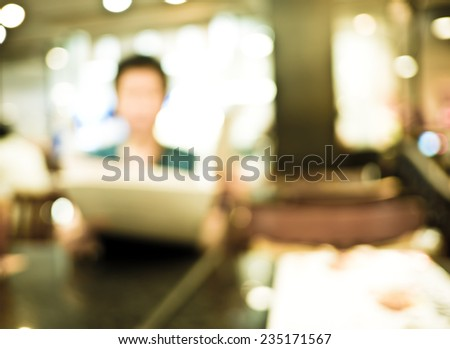 Blurred background : Woman Customer see menu at restaurant blur background with bokeh - stock photo