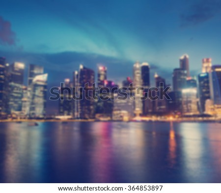 Blurred backround. Night city. Singapore. - stock photo