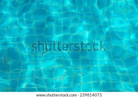 blurred blue water ripple over ceramic floor of swimming pool - stock photo