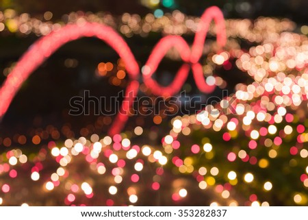 Blurred bokeh lights city xmas lights decoration - stock photo