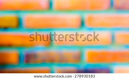 Blurred brick with green line background - stock photo